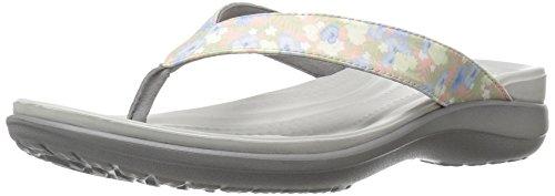 crocs Damen Caprivflip Pantoffeln, Mehrfarbig (Floral/Light Grey), 39/40 EU (7 UK) - Crocs-damen Capri