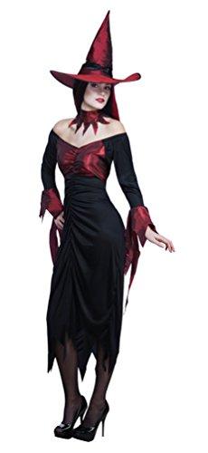 (Karneval-Klamotten Damen Hexenkostüm rot-schwarz Damen-Kostüm Hexe inkl. Hexenhut 40/42)