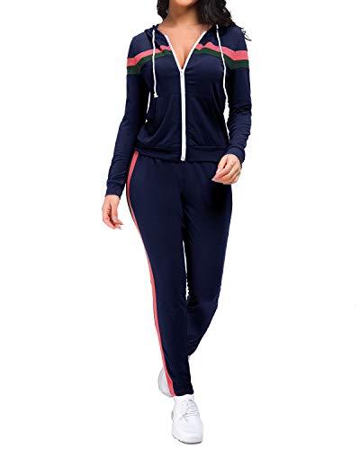Unifizz Women's 2 Piece Outfits Zip Hoodie Sweatshirt & Sweatpants Sweatsuits and Plus Size Tracksuit Sets Jogging Suit Marine#1 Small Black Hooded Jogging-set