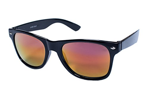 EL-Sunprotect® Sonnenbrille Nerdbrille Brille Nerd Feuer Verspiegelt Schwarz Bunt UV400