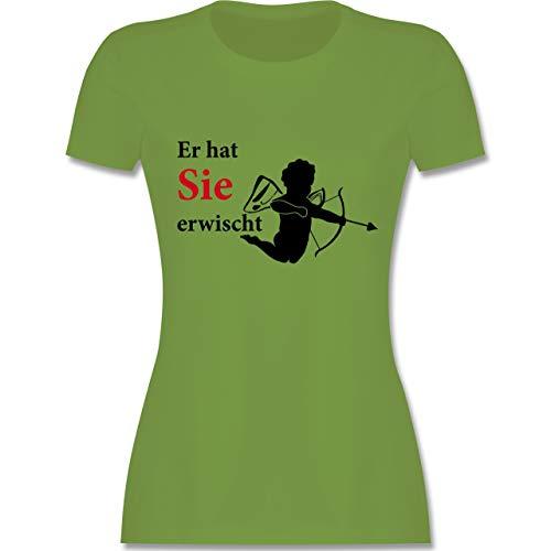 Zubehör Cupid Kostüm - JGA Junggesellinnenabschied - Er hat Sie erwischt - M - Hellgrün - L191 - Damen Tshirt und Frauen T-Shirt