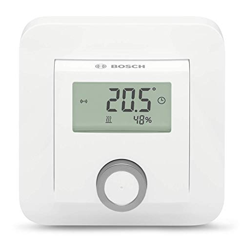 Bosch Smart Home 8750001259 Raumthermostat (2X AAA Batterie, für Heizkörperthermostate, inklusive Feuchtigkeitsanzeige, im Karton), 1.5 V