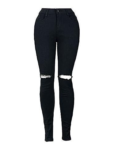 Femmes Skinny Taille Haute Denim Jeans Déchirés Pantalon Stretch Slim Crayon Jeans Pants Jeggings Collants Noir L
