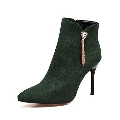 Heart&M Da donna Scarpe Pelle nubuck Autunno Inverno Comoda Stivaletti A stiletto Appuntite Con diamantini Cerniera Per Nero Rosso Verde green