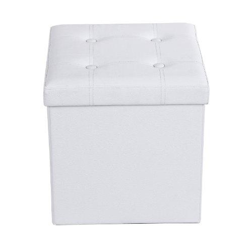 SONGMICS LSF30W 38cm Taburete Plegable, Asiento, Caja de Almacenamiento con Asas, soporta hasta 300kg, Piel sintética, Color Blanco