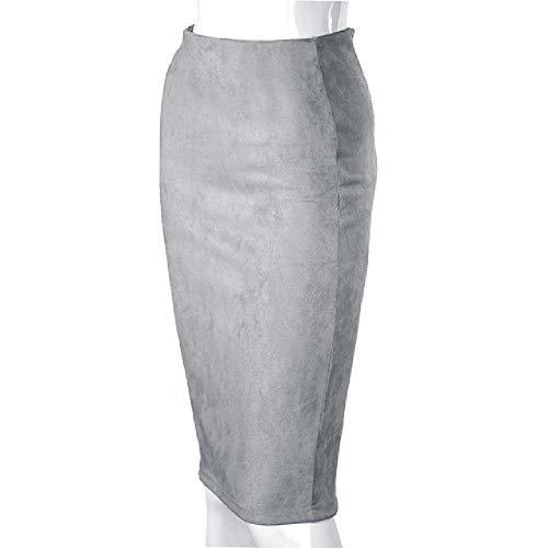 Tongxi Frühlings-Faux-Veloursleder-Bleistift-hohe Taillen-aufgeteilte Starke Dehnbare reizvolle Röcke Knielang Plus Größe Belly Dance Satin