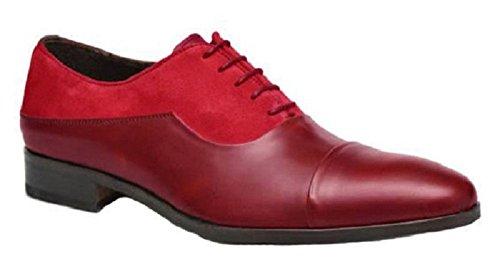 Chaussures classic model Albin cuir et Daim par HGilliane Design Eu 33 au 44 Rouge carmin