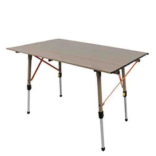 LINA Table Pliante extérieure Tout en Aluminium, Table de Camping Barbecue pour Pique-Nique, Table de Propagande pour stalle Portable, Table rectangulaire, Hauteur réglable, 120x70x (30-70) cm