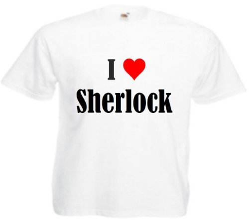 """T-Shirt """"I Love Sherlock"""" für Damen Herren und Kinder in Weiß Weiß"""