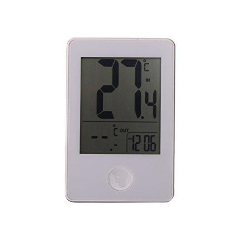 DOMYBEST Horloge Thermomètre Numérique sans Fil pour Utilisation Domestique à l'intérieur ou l'intérieur (Blanc)