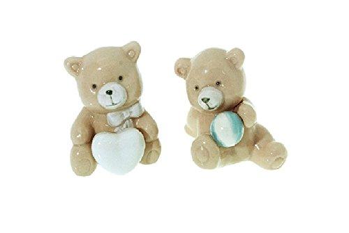 Dlm26564 (kit 12 pezzi) orso orsetto orsacchiotto in ceramica cuore lc1694 bomboniera