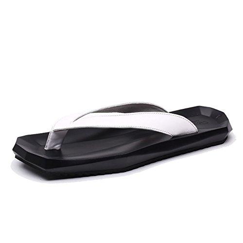 Géométrique Forme Pantoufle Homme Sandale D'été Plage Chaussures Souple en Cuir Véritable Confortable Loisir Créative (38-44 Taille)