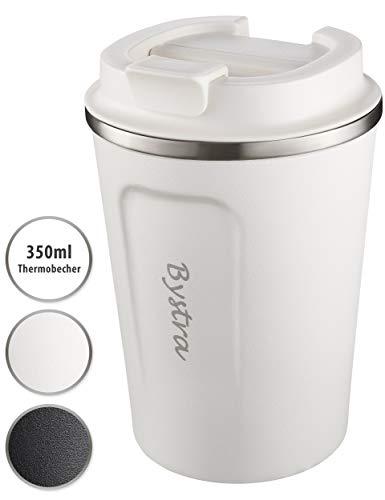 BYSTRA Thermobecher - Kaffeebecher to go 100% Auslaufsicher - Isolierbecher 350ml - Trinkbecher mit doppeltwand Isolierung - Travel Mug - Teebecher - Reisebecher BPA-Frei - weiß