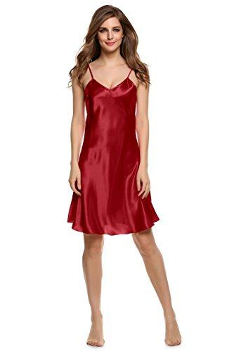 Cooshional Nachtkleid Damen Nachthemd Nachtwäsche Negligee Schlafanzüge dungkelrot