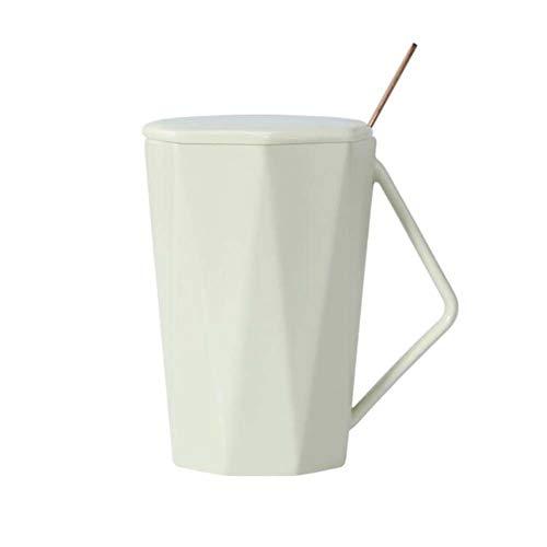 East Utopia Tasse de café en céramique Tasse de Bureau à Domicile Tasses Blanche (avec Couvercle et cuillère)