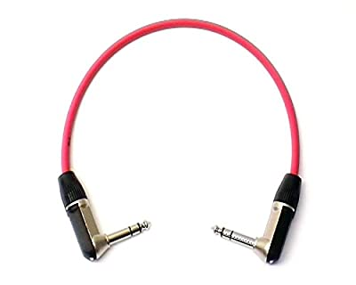 "0.3m Patch Lead, Right Angled Stereo TRS 1/4"" Jack - Re'an, Red"