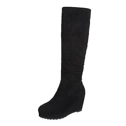 Keilstiefel Damen-Schuhe Plateau Keilabsatz/ Wedge Keilabsatz Reißverschluss Ital-Design Stiefel Schwarz, Gr 37, (Keilabsatz Schwarz)