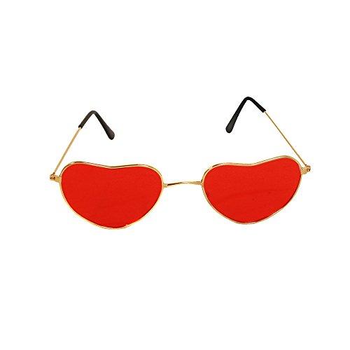 ILOVEFANCYDRESS Hippie Brillen ZUBEHÖR FÜR Jede Art DER KOSTÜM VERKLEIDUNG=8 Farben=Flower Power Sommer Party Musik Festival 60iger 70iger 80iger Pepper=1 ROTE Herz Brille