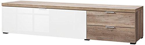 CS Schmalmöbel 45.150.505/025 TV-Board Cleo Typ 20, 163 x 50 x 38 cm, wildeiche / weißglas