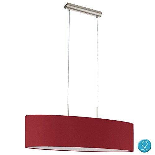 Luxus Hänge Pendel Leuchte Wohn Ess Zimmer Textil Schirm Decken Lampe im Set inkl. LED Leuchtmittel