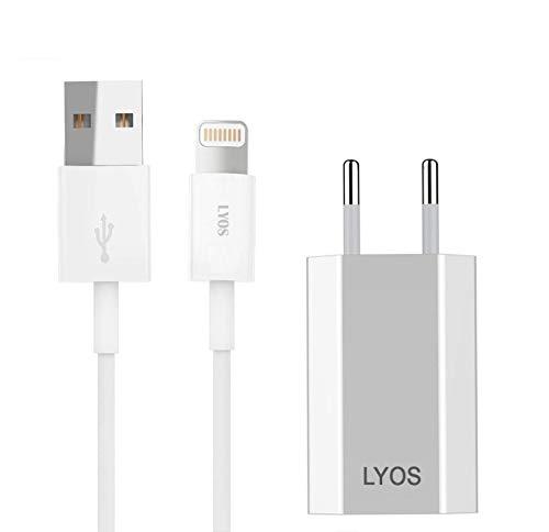 LYOS Ladekabel Netzteil 2 Meter Ladeset [SCHNELLES Aufladen] passend für iPhone 11, 11 Pro, 11 Pro Max, XS, XS Max, X, Xr, 8, 8 Plus, 7, 7 Plus, 6s, 6s Plus, 6, 5s, SE, iPod und iPad
