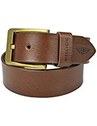 Police Men's Genuine Leather Belt with Bronze Pin Buckle - Sienna (Large)