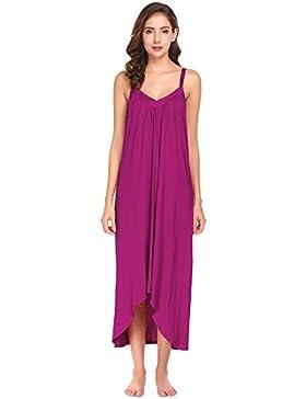 [Sponsorizzato]Modfine Camicia da Notte Donna Sexy Sleepwear Scollo a V Senza Maniche di Spaghetti
