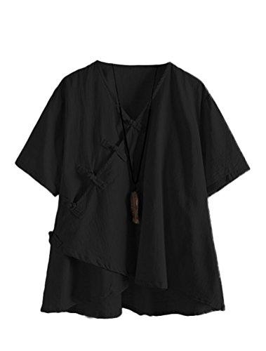 MatchLife Damen Leinen Tops Klassisches Vintage T-Shirt Chinesisch V-Ausschnitt Tunika Bluse Schwarz Fits EU 46-52 -