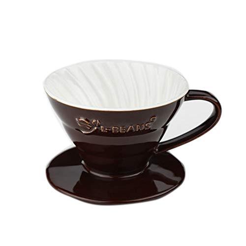 Chinashow Keramik über Kaffee Dripper - Cone Wiederverwendbare Kaffee Filter Griff Design, braun (Keramik-kaffee-filter Cone)