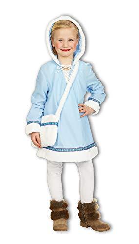 Costume da vestito eschimese fino al ginocchio, con cappuccio, taglia 104, e 128 140, ideale per carnevale, per ragazza