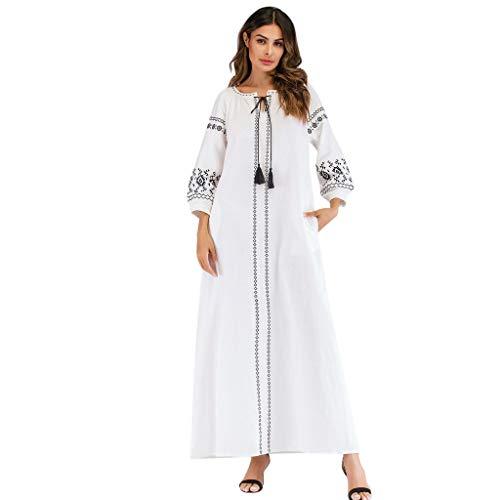 Lazzboy Frauen Langarm Bestickte Arabische Kleid Islam Jilbab Muslimische Damen Herbst Hochzeit Kaftan Robe Tunika Abaya Dubai Abendkleid Muslim Knöchellang Gewand Islamische Kleidung(Weiß,M)