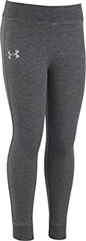 Under Armour Little Girls' Stretch French Terry Legging, Charcoal Gray Heather, 4