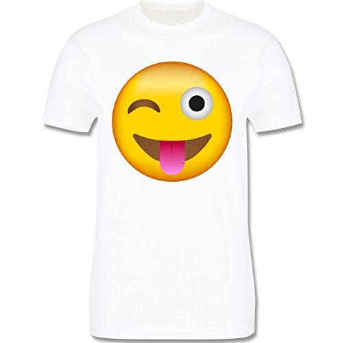 Comic Shirts - Emoji Herausgestreckte Zunge - Herren T-Shirt Rundhals Weiß