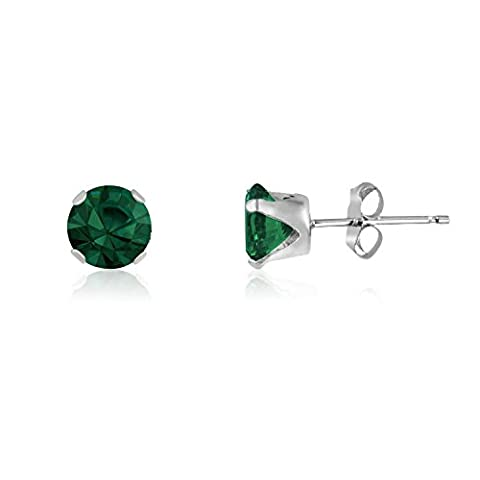4MM Classic Brilliant Round Cut CZ Sterling Silver Stud Earrings - EMERALD GREEN - Or Choose From 2mm to 12mm. 4-EMER