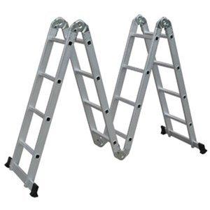 Popamazing 4,7 m de extensión peldaño de escalera multifunción de aluminio bandeja de andamio se puede plegar y guardar EN131 con barra
