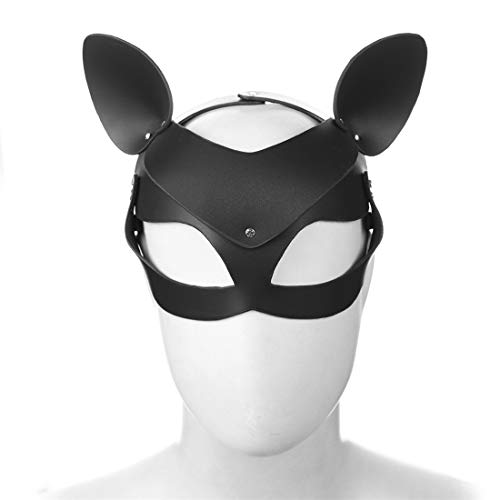 Cat Brille Kostüm Black - HOUYAZHAN Fuchs und Katze Maske Cosplay Zubehör Sex Spielzeug Maskierte Maskerade Kostüm Kopfbedeckungen Augenmaske (Color : Black, Size : Fox cat with Ear mask)