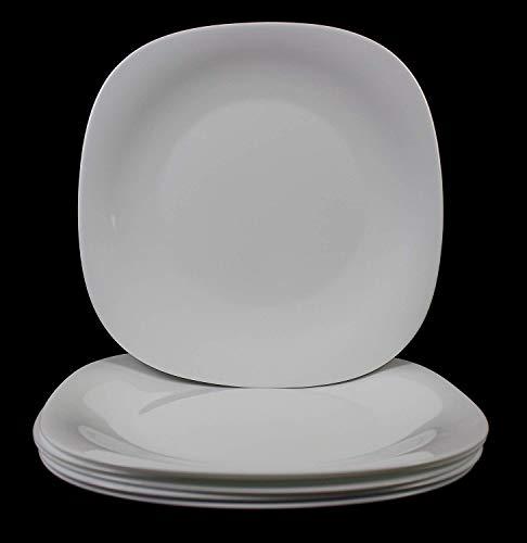 Fitting Gifts Bistro Collection Assiettes Plates Parma Légèrement Carrées, Blanc Brillant (6 Pièces)