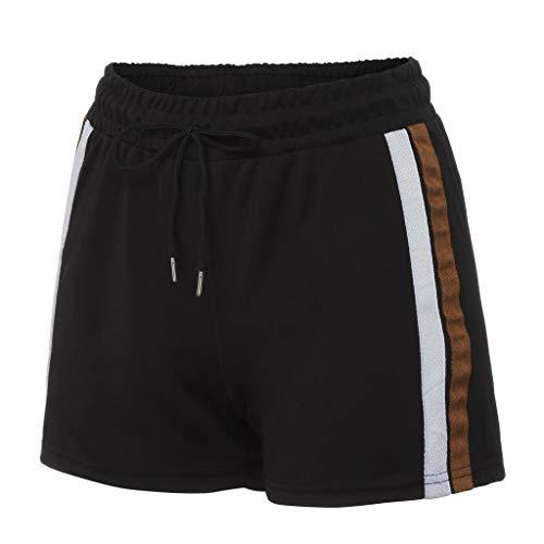 KUDICO Damen Shorts, Sommer Sport Shorts Streife Yoga Running Gym Kordelzug Taille Elastische Freizeit Short Hosen Mini Hotpants Strandshorts(Schwarz 4, Medium)