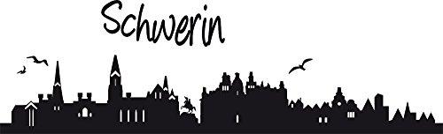 GRAZDesign Wandtattoo Büro Skyline Schwerin - Wandtattoo Schriftzug Klassenzimmer - Wandtattoo Büro - Wanddeko Restaurant / 99x30cm / 630178_30_070