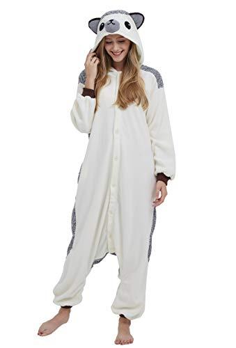 Jumpsuit Onesie Tier Karton Fasching Halloween Kostüm Sleepsuit Cosplay Overall Pyjama Schlafanzug Erwachsene Unisex Lounge Kigurumi Igel for Höhe 140-187CM