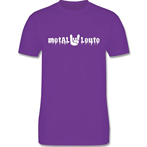 Music - Metal Leute - L190 Herren Premium Rundhals T-Shirt Lila