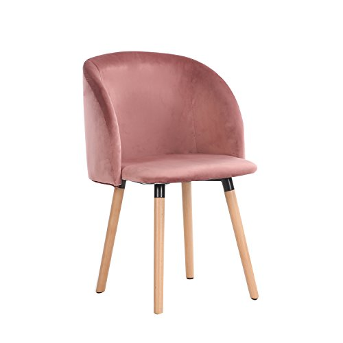 EGGREE Velvet Fabric Tube Accent Chair Armchair Dining Living Room Lounge Office Modern Furniture with Solid Wooden Legs - Rose Red