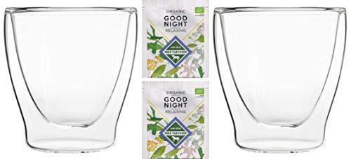 Feelino Teeset: 2X 200ml + 2X Bio-Tee Good Night - 2X 200ml doppelwandige Gläser/Thermogläser mit Schwebe-Effekt / 2X Bio Teebeutel Kräutertee, Kamille, Zitronengras ... / DUOS-Set by