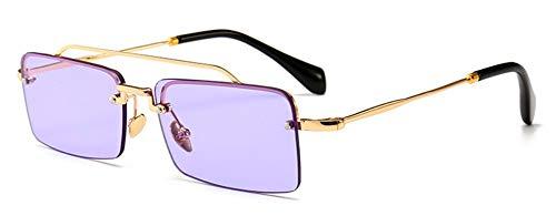Sonnenbrille Retro, Rechteckige Sonnenbrille Männer Metall Rahmen Gold Klar Lila Braun Rot Halb Randlose Square Sonnenbrillen Für Frauen Sommer