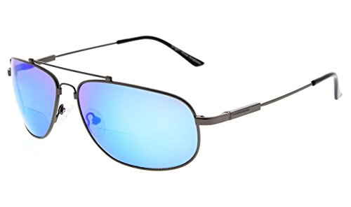 Eyekepper Bifokal Lesen Sonnenbrillen Biegsamen Speicher Sun Leser Frauen Männer (Gunmetal Rahmen Blau Spiegel,+1.50)