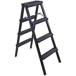 JH&& Escalera De Ingeniería Multifuncional, Taburete Plegable, Escalera De Extensión para El Hogar, Escalera De Aluminio Gruesa (Negra) *** (Tamaño : 4 Step)