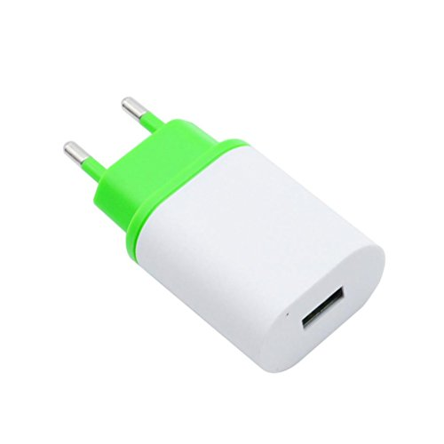 Kingko® EU Universal 2.4A 2 in 1 Port USB EU Stecker Home Reise Wandladegerät Netzteil (Grün)
