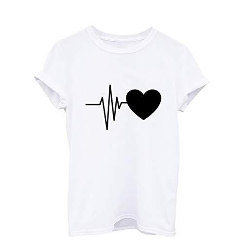 TWIFER Logo Shirt Damen Sommer Lose Kurzärmeliges Druck T Shirt Lose Oansatz Spitze Der Art Und Weise Mit Herz Gedruckt