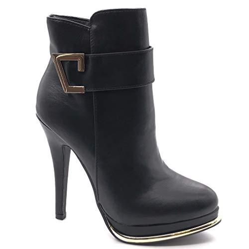Angkorly - Damen Schuhe Stiefeletten - Plateauschuhe - Sexy - Stiletto - Schleife - golden Stiletto high Heel 12 cm - Schwarz G200-2 T 39