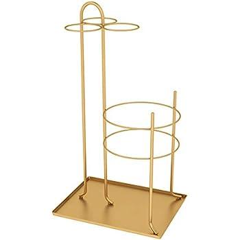 Bastone da Passeggio con Appendiabiti Rotondo per Ingresso Interno Nordico Moderno con Gancio Color : Gold JLXJ Portaombrelli Portaombrelli in Metallo con Base in Marmo Nero